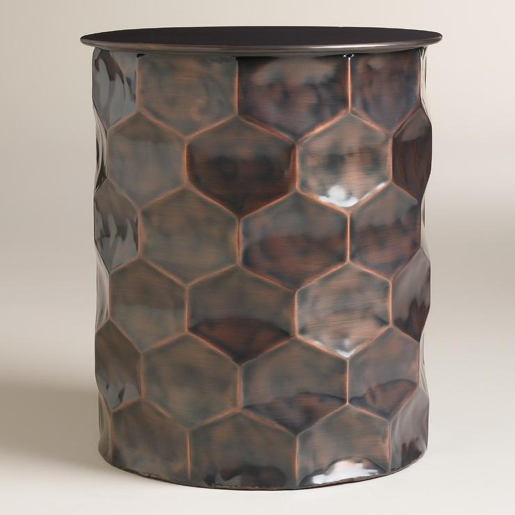Metal Rani Drum Accent Table In Copper