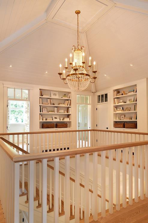 Second Floor Hall With Built In Bookcases