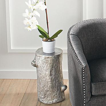 Root silver accent table for Silver tree trunk coffee table