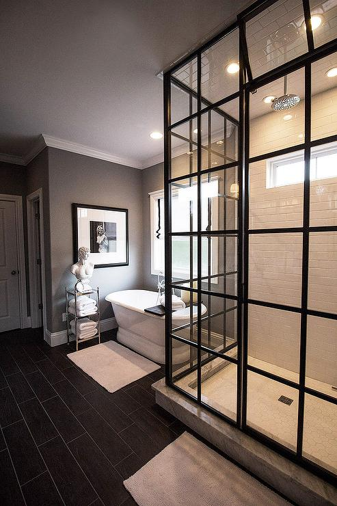 Steam shower with tilted window for Master bathroom glass doors