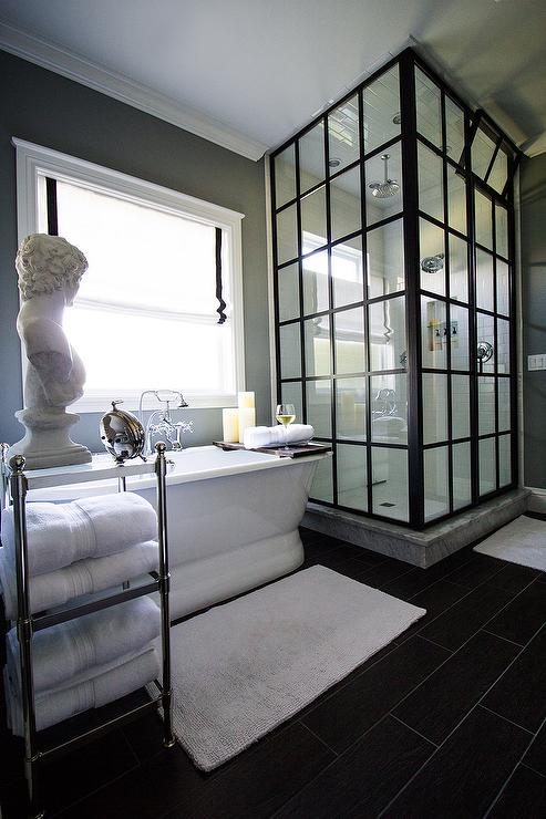 Steel Shower Enclosure With White Subway Tiles