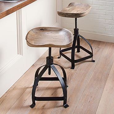 Tractor Swivel Stool In Black And Brown