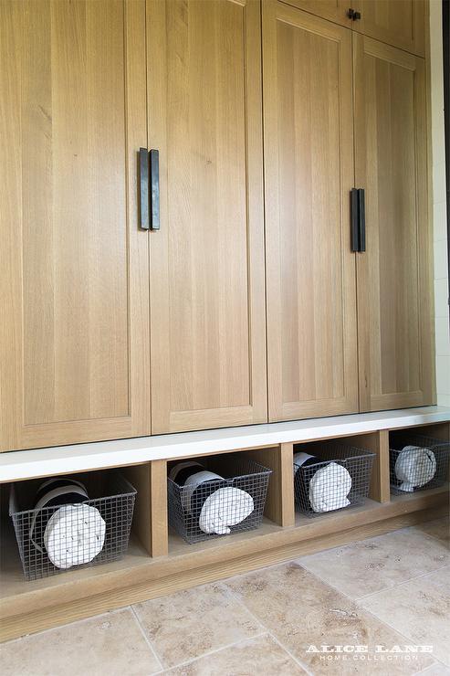 Walnut Mudroom Lockers Contemporary Laundry Room