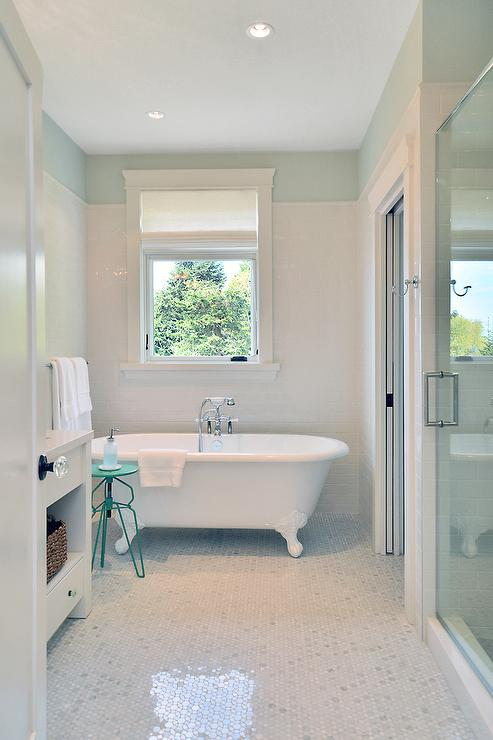 White Bathroom With Turquoise Accents Cottage Bathroom