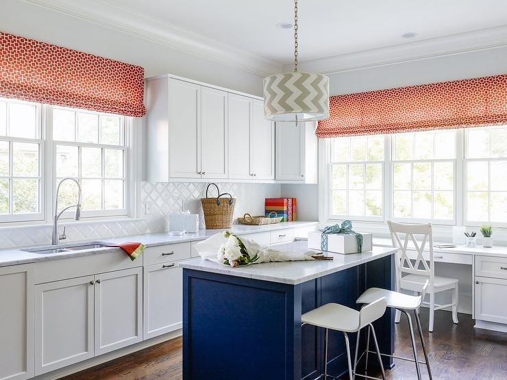 Diamond pattern kitchen backsplash - Kitchen with orange accents ...
