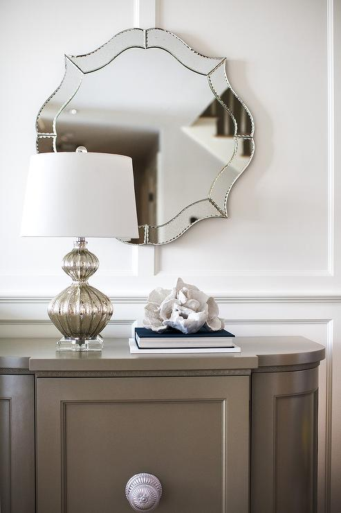 Gray French Foyer Cabinet With Mercury Glass Ripple Lamp