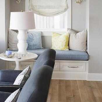 Living Room Window Seat Nook With Drawers