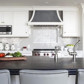 Grey And White Marble Arabesque Tile Kitchen Backsplash