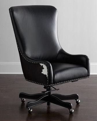 dougherty hairhide executive office chair in black