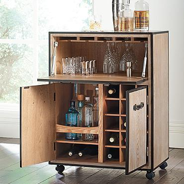 Galway Mobile Bar Cart In Brown