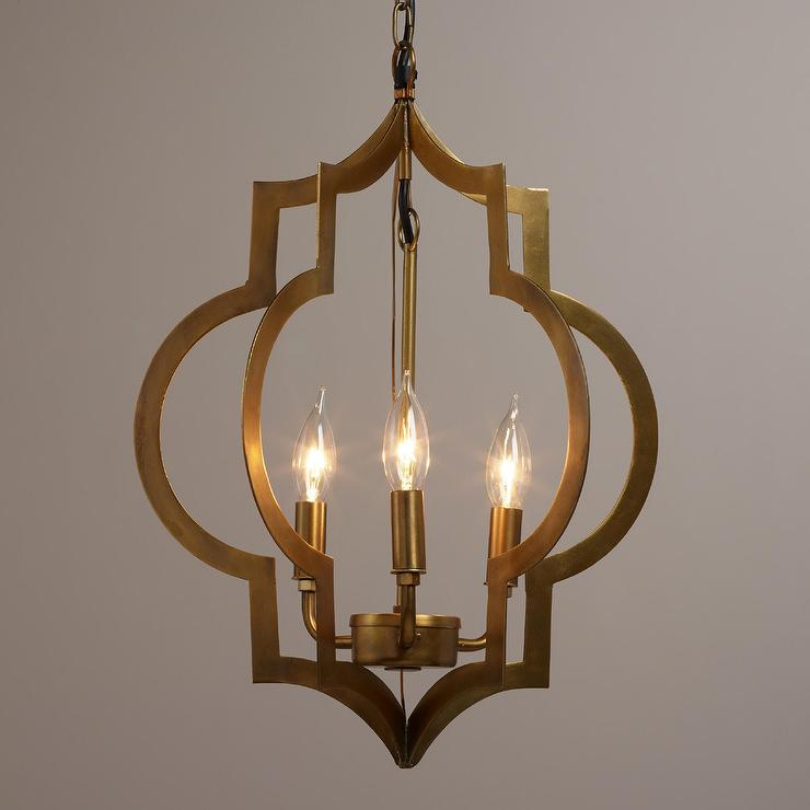 Gold Foyer Lighting : Gold quatrefoil light pendant lamp