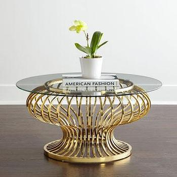 Winchester Round Gold Glass Coffee Table