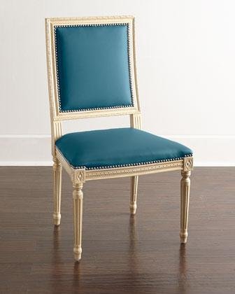 Massoud Ingram Leather Dining Chair In Blue