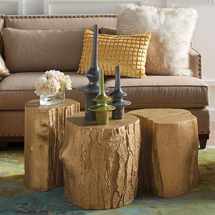 Gold Tree Stump Tables By David Bromstad