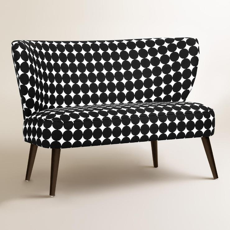 Jet Dotscape Kenway Upholstered Loveseat In Black And White