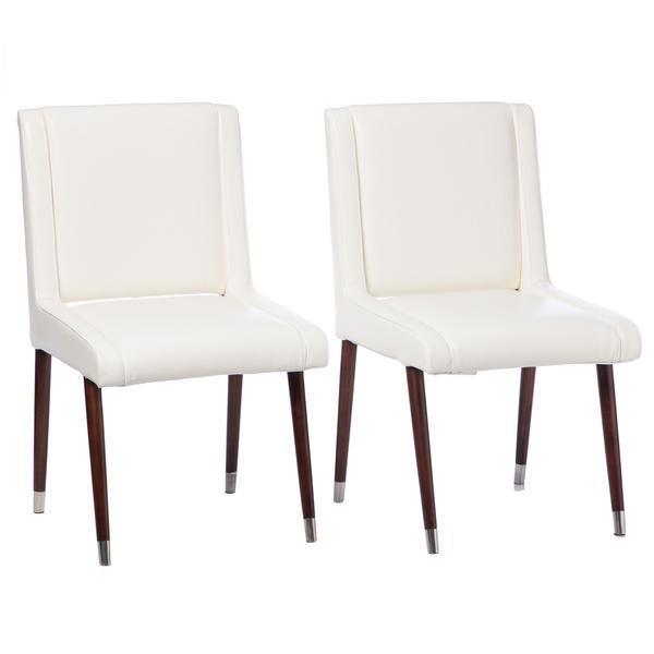 Joan modern white leather dining chairs set of 2 for White leather dining chairs
