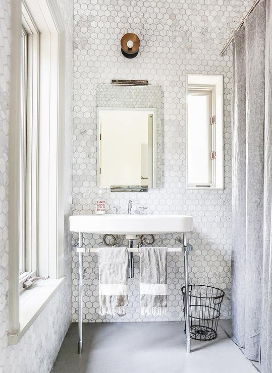 Marble Hex Tiled Bathroom Walls Transitional Bathroom