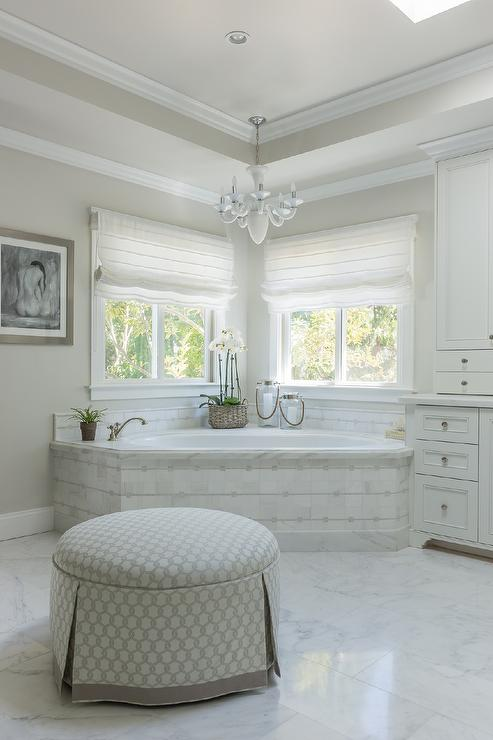 Corner Marble Tiled Tub Under Windows Transitional