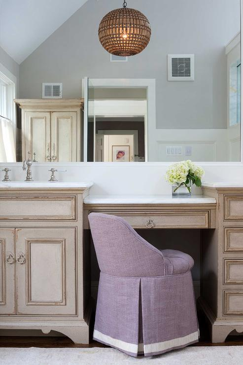 French Bathroom Cabinets With White Marble Countertops