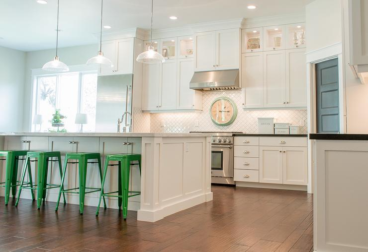 White Kitchen Island With Green Tolix Stools Transitional Kitchen