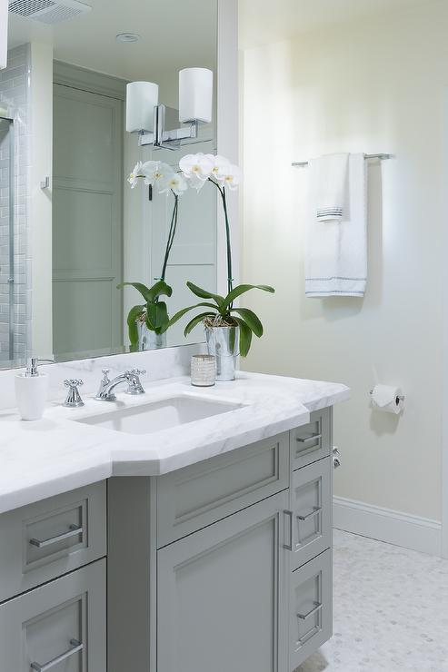 Gray bathroom vanity with white marble countertop for Bathroom ideas grey vanity