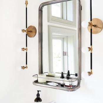 vanity astoria modern restoration sconce shelf by pin linear mirror a brass sconces with features bathroom illuminated hardware