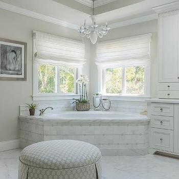 Corner Marble Tiled Tub Under Windows