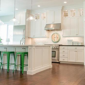 Merola Tile Arabesque Matte White Transitional Kitchen