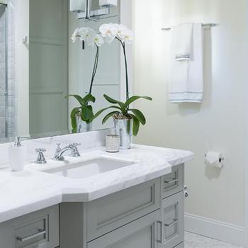 Grey Bathroom Vanity With Gold Knobs Transitional Bathroom