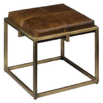 Jamie Young Shelby Leopard Stool In Brown And Brass