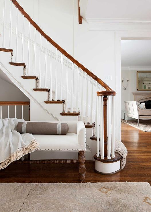 White Bench On Staircase Wall Transitional Entrance Foyer