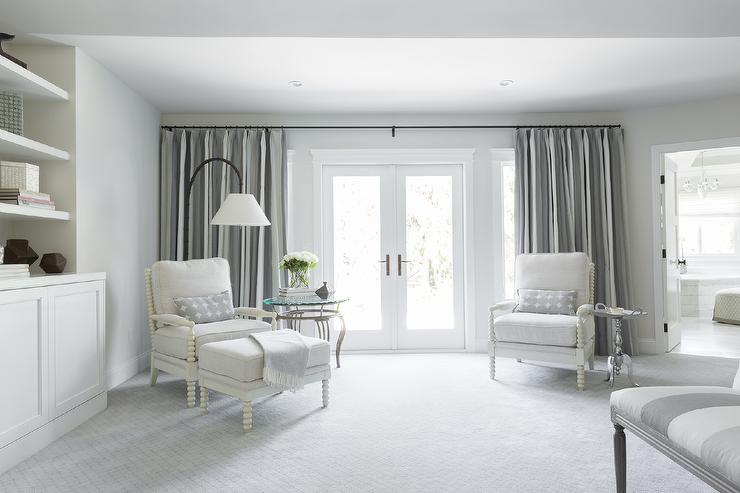 White and Grey Bedroom Sitting Area - Transitional - Bedroom