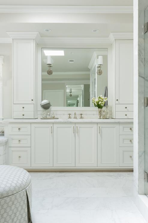 White Shaker Vanity Cabinets With Satin Nickel Hardware