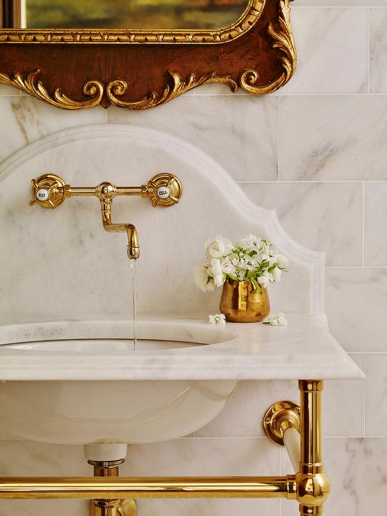 Brass Washstand With Curved Marble Backsplash French