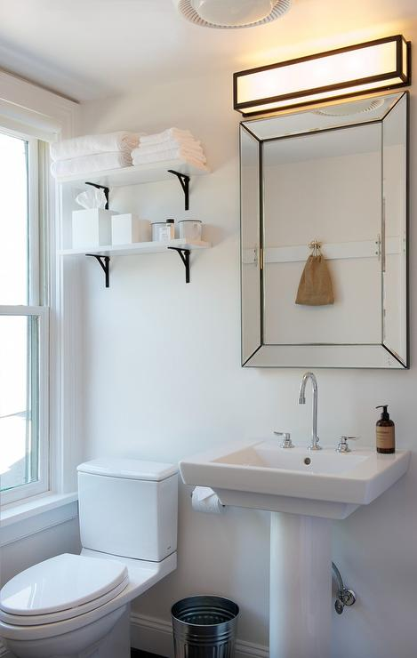 White Shelf With Black Corbels Modern Bathroom