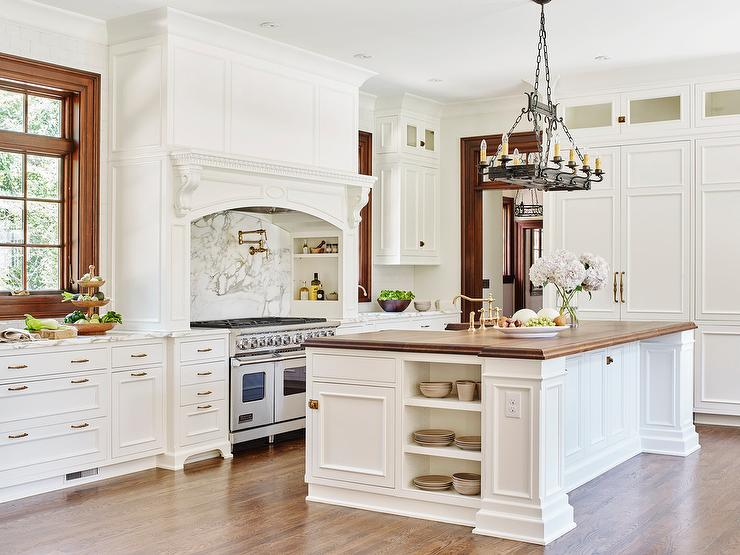 Kitchen Island Open Shelves white kitchen island with butcher block top - cottage - kitchen
