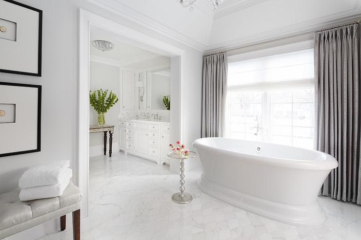 White Bathroom With Grey Curtains Transitional