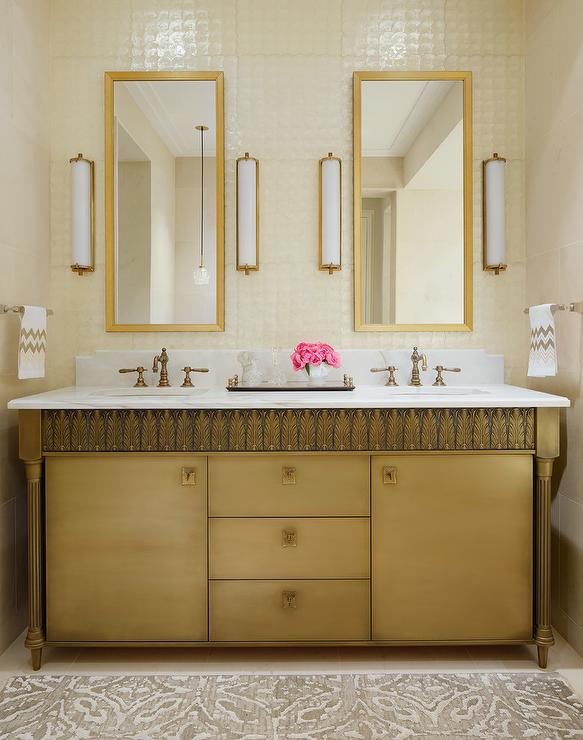 Gray And Gold Bathroom With Restoration Hardware Trumeau Mirrors - Restoration hardware bathroom mirrors for bathroom decor ideas