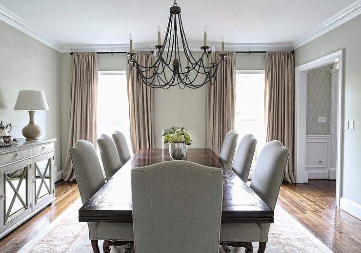 Rectangular Dining Table With Gray Linen Camelback Dining Chairs