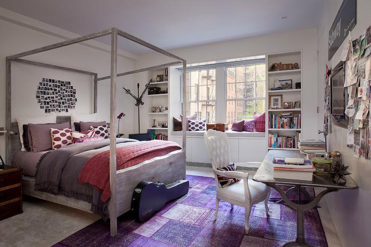 Purple And Gray Teen Girl Bedroom With White Canopy Bed