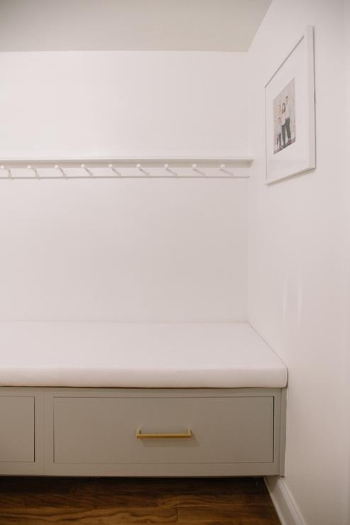 Gray Mudroom Bench With Drawers Transitional Laundry Room