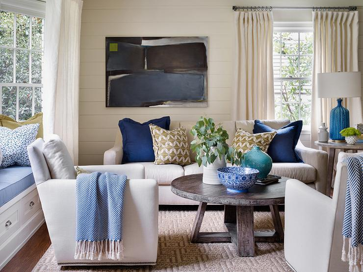 Ivory And Blue Living Rooms Transitional Living Room