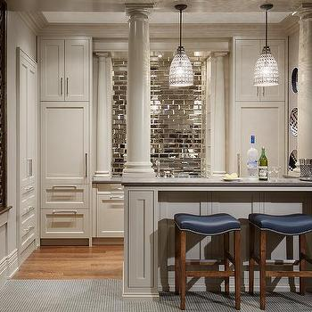 Charmant Basement Bar With Mirrored Subway Tile Backsplash
