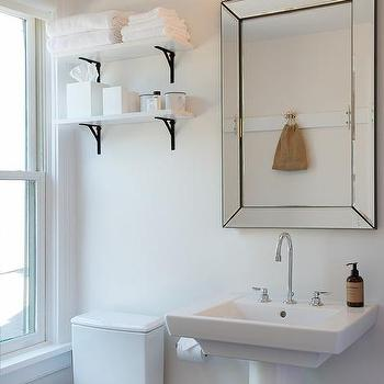 Captivating White Shelf With Black Corbels