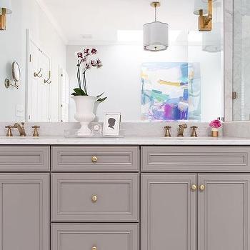 'White Porcelain Marble Like Countertop' from the web at 'https://cdn.decorpad.com/photos/2015/09/05/m_benjamin-moore-chelsea-gray-bathroom-vanity-marble-like-countertop.jpg'