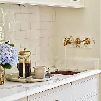 Butler Pantry With Hammered Copper Sink And Wall Mount Gold Spigot Faucet
