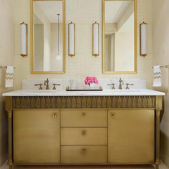 Gray And Gold Bathroom With Restoration Hardware Trumeau Mirrors Cottage Bathroom
