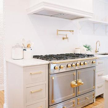 Gray And White Kitchen With Gold Accents Transitional
