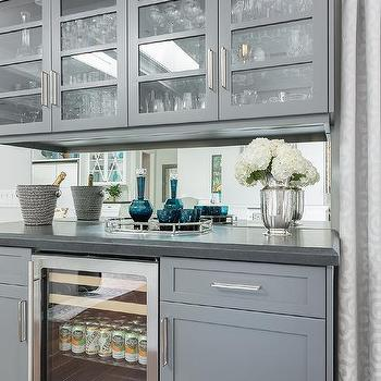 Gray Living Room Bar Cabinets With Mirrored Backsplash