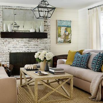 Taupe Brick Fireplace - Design photos